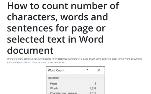 How to count number of characters, words and sentences for page or selected text in Word document