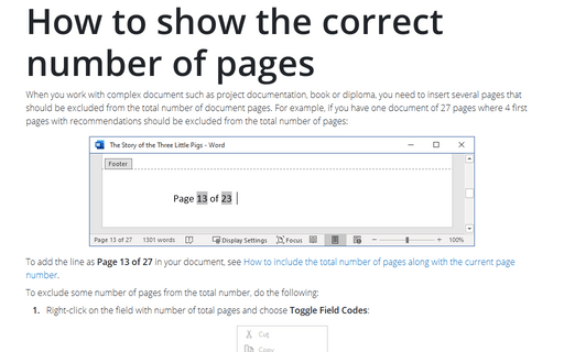 How to show the correct number of pages