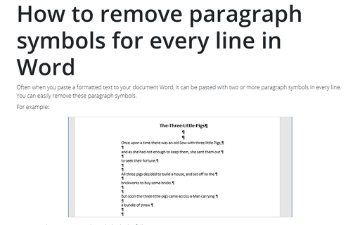 How to remove paragraph symbols for every line in Word