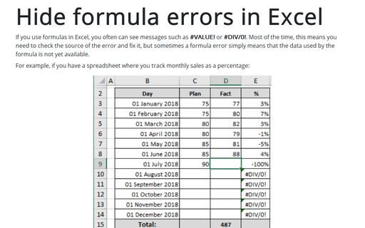 Hide formula errors in Excel