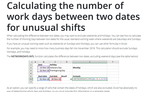 Calculating the number of work days between two dates for unusual shifts
