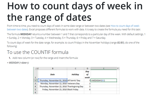 How to count days of week in the range of dates