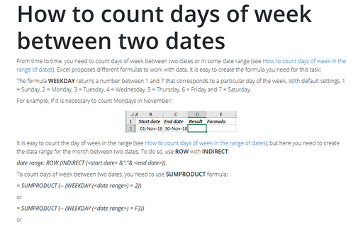 How to count days of week between two dates