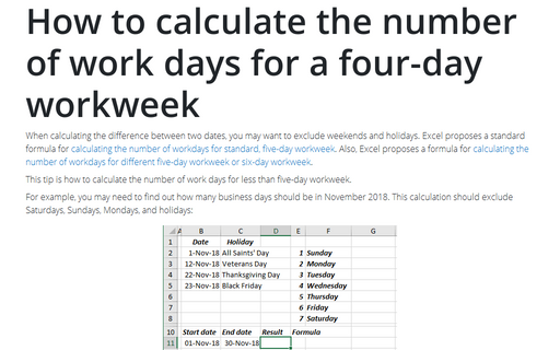 How to calculate the number of work days for a four-day workweek