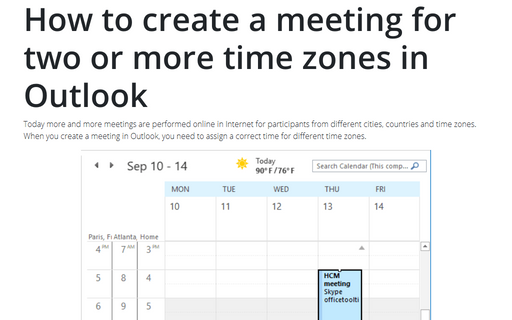 How to create a meeting for two or more time zones in Outlook