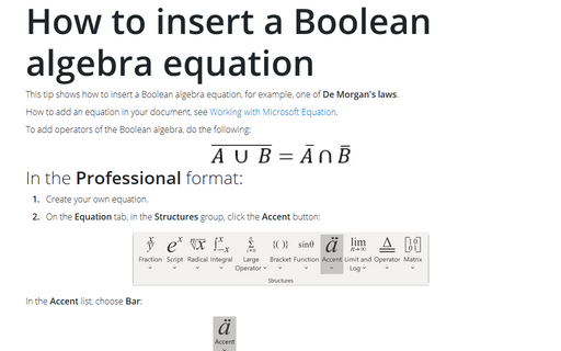 How to insert a Boolean algebra equation