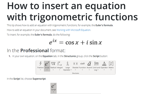 How to insert an equation with trigonometric functions