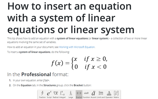 How to insert an equation with a system of linear equations or linear system