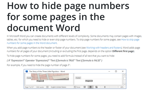 How to hide page numbers for some pages in the document Word
