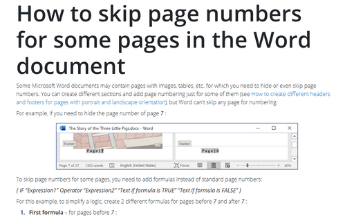 How to skip page numbers for some pages in the Word document