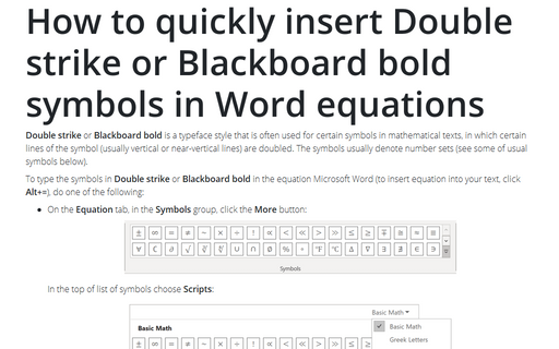 How to quickly insert Double strike or Blackboard bold symbols in Word equations