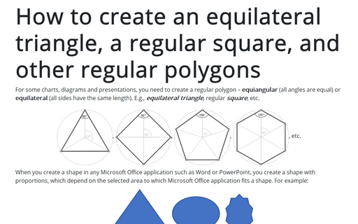 How to create an equilateral triangle, a regular square, and other regular polygons in Excel