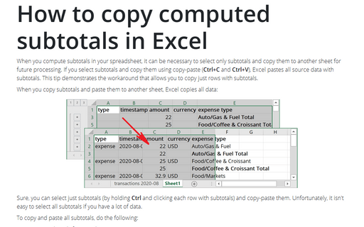 How to copy computed subtotals in Excel
