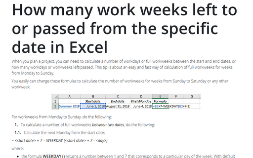 How many work weeks left to or passed from the specific date in Excel