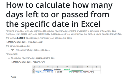 How to calculate how many days left to or passed from the specific date in Excel