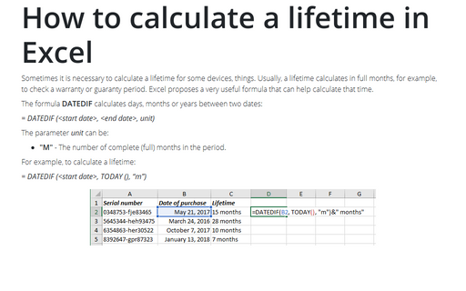 How to calculate a lifetime in Excel