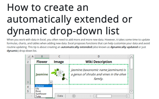 How to create an automatically extended or dynamic drop-down list