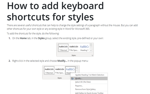 How to add keyboard shortcuts for styles