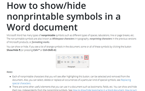 How to show/hide nonprintable symbols in a Word document