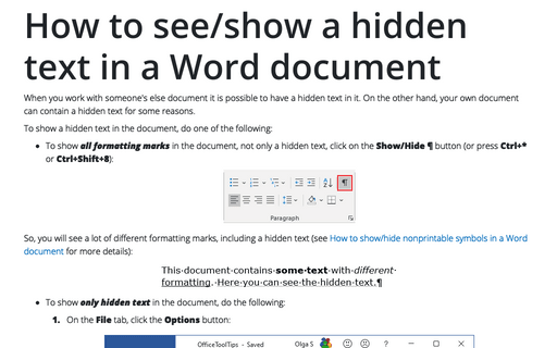 How to see/show a hidden text in a Word document