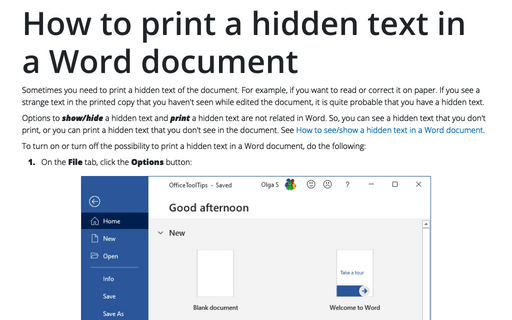 How to print a hidden text in a Word document