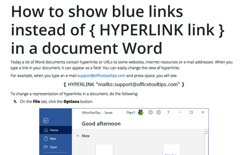 Use hyperlink without holding Ctrl - Microsoft Word 2016