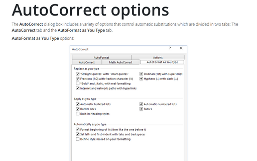 AutoCorrect options