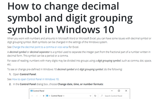 How to change decimal symbol and digit grouping symbol in Windows 10