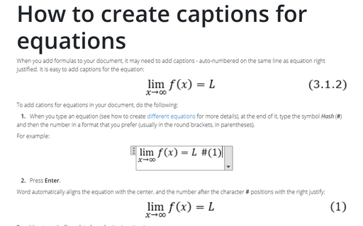 How to create captions for equations