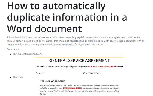 How to automatically duplicate information in a Word document