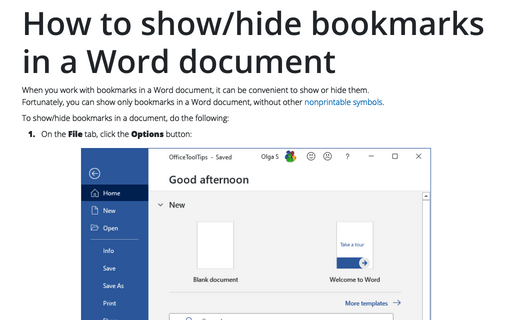 How to show/hide bookmarks in a Word document