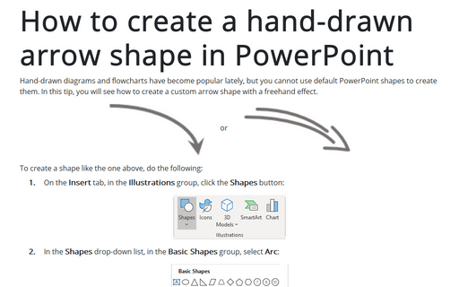 How to create a hand-drawn arrow shape in PowerPoint