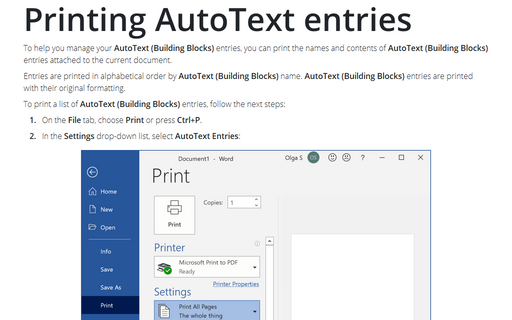 Printing AutoText entries