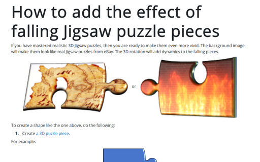 How to add the effect of falling Jigsaw puzzle pieces