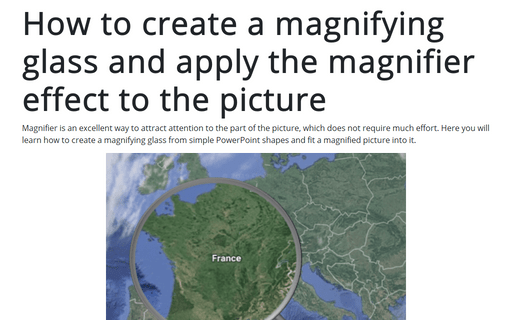 How to create a magnifying glass and apply the magnifier effect to the picture