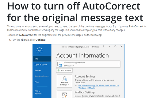 How to turn off AutoCorrect for the original message text