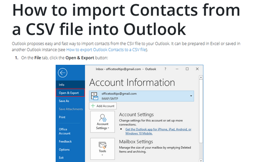 How to import Contacts from a CSV file into Outlook