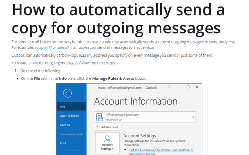 How to automatically send a copy for outgoing messages