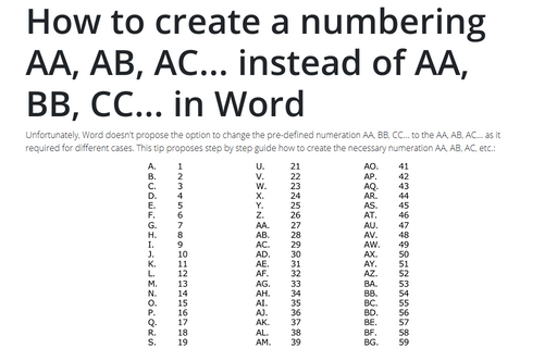 How to create a numbering AA, AB, AC... instead of AA, BB, CC... in Word