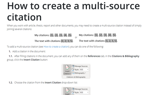 How to create a multi-source citation