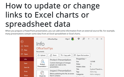How to update or change links to Excel charts or spreadsheet data in PowerPoint