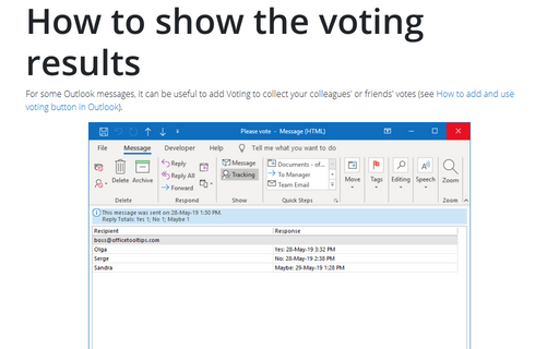 How to show the voting results