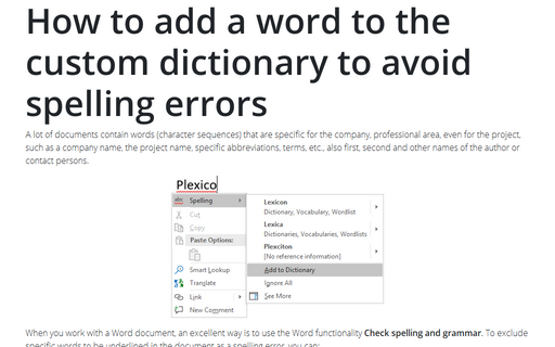 How to add a word to the custom dictionary to avoid spelling errors