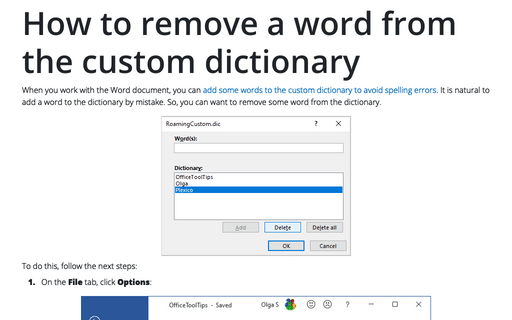 How to remove a word from the custom dictionary