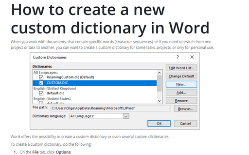 How to create a new custom dictionary in Word