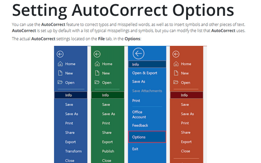 Setting AutoCorrect Options
