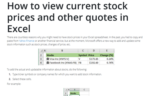 How to view current stock prices and other quotes in Excel