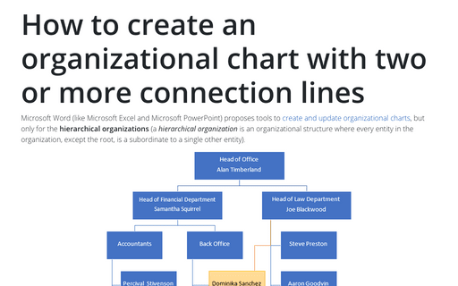How to create an organizational chart with two or more connection lines