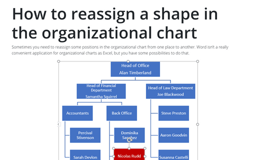 How to reassign a shape in the organizational chart