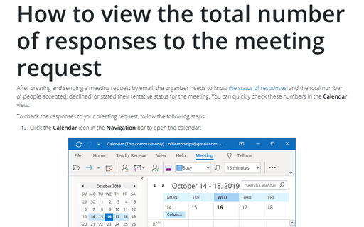 How to view the total number of responses to the meeting request